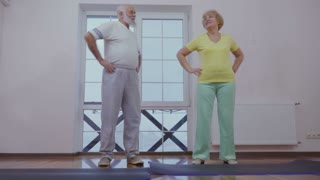Senior man with senior woman make sport exercise at home