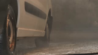 Slowmotion of car washing