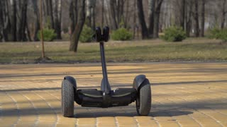 Smart gadget moves along the road in park