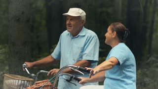 Sporty old couple with bicycles talks in park