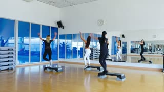Sporty women training in the gym the step aerobics
