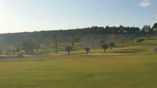 Summer golf course from golf car