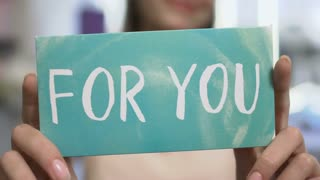 "Text on card ""for you"