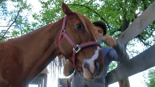 The rider is combing the mane of a horse