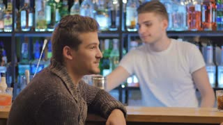 Two attractive men relaxing and talking in a bar