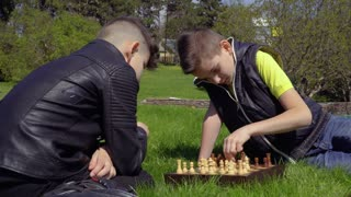 Two boys play chess on grass in park