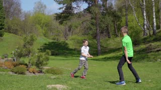 Two boys plays catch-up in summer park