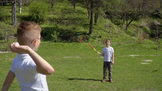 Two little boys plays baseball at the meadow in park