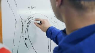 Two sportsmen draws the plan of car racing at flipchart