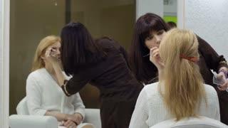 Visagiste applies eyeshadows on eyes of adult woman, makeup room