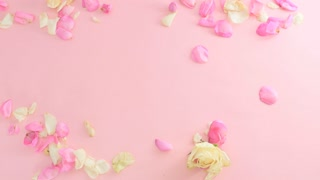 Yellow empty sheet of paper is moving among the rose petals on pink background