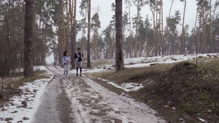 Young couple of friends runs in the morning in the forest