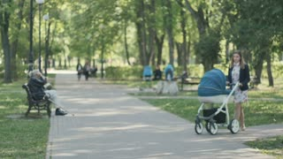 Young mother with pram walks in the green park