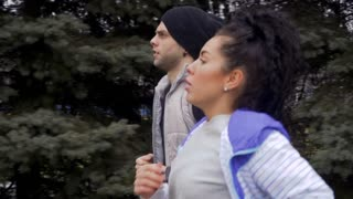 Young people running in slowmotion