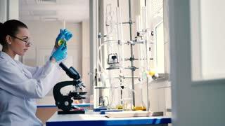 Woman in rubber gloves work in the laboratory