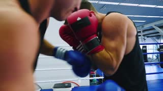 Young men train punches in sparring