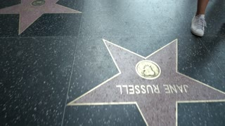 Dolly shot of a variety of stars on the Hollywood Walk of Fame.