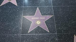 Hollywood Walk of Fame Star - 2 Shots! - Johnny Cash - Editorial Clip