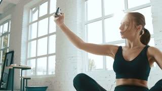 Cute girl doing exercises