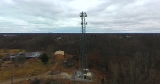 4K Aerial Radio Tower Fall Circle Flyby