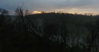 4k Beautiful Foggy River Aerial