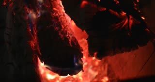4K Fireplace Burning Wood Fire Hot Stove Pan Up