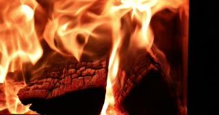 4K Fireplace Burning Wood Fire Hot Stove Slider Shot Macro