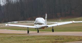 4K Small Airplane Taxiing Beechcraft Airport Twards Runway