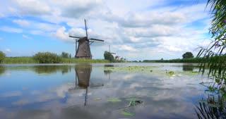 4K Windmills Kinderdijk Netherlands Timelapse