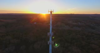 Beautiful Radio Tower Sunset Aerial Drone Clip