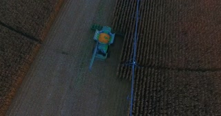 Combine Harvesting Corn Aerial
