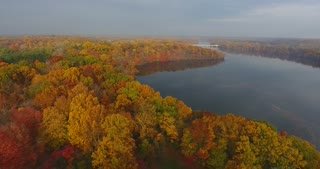 Fall Colors River Aerial Circle
