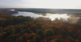 Fall Colors River Aerial Morning
