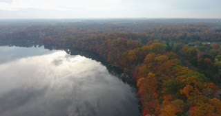 Fall Colors River Aerial Pull Back