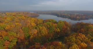 Fall Colors River Aerial Push In