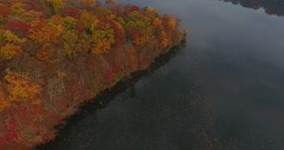 Fall Colors River Aerial Tilt Up Bridge