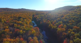 Fall Colors River Sunset Aerial Flyover