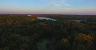 Fall Evening River Aerial
