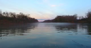 4K Foggy River Aerial Morning