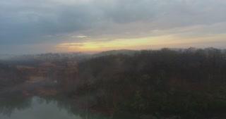 Foggy River Aerial Sunrise