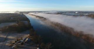 Foggy River Flyover Aerial