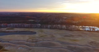 Golf Course Winter Aerial Sunrise