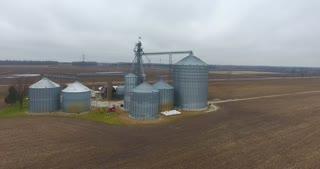 Grain Bin Farm Aerial Road Circle Flyover