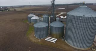 Grain Bin Farm Aerial Road Circle Pull Back