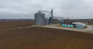 Grain Bin Farm Aerial Road Circle