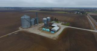 Grain Bin Farm Aerial Road Pull Back