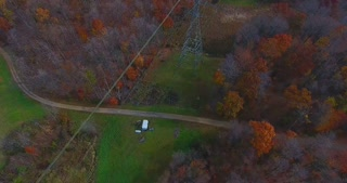 High Voltage Power Lines Fall Colors Aerial