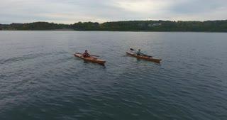 Kayaking Lake Michigan Aerial Tracking Shot