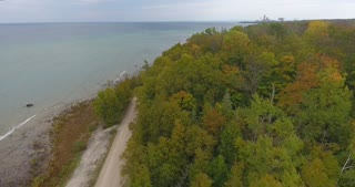 Lake Michigan Aerial Fall Color Flyover