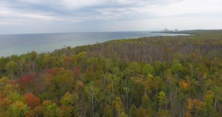 Lake Michigan Aerial Fall Color Pull Back